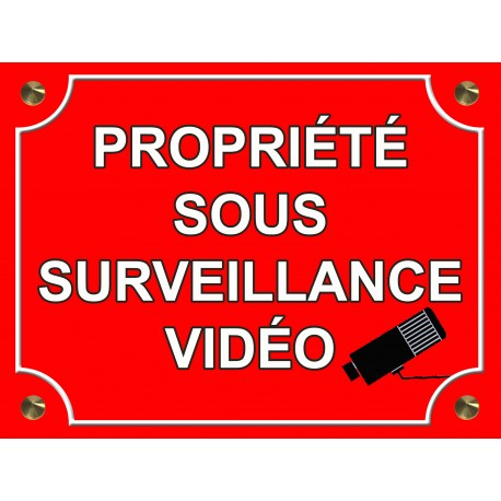 plaque aluminium maison sous surveillance video tamalou et bobola. Black Bedroom Furniture Sets. Home Design Ideas