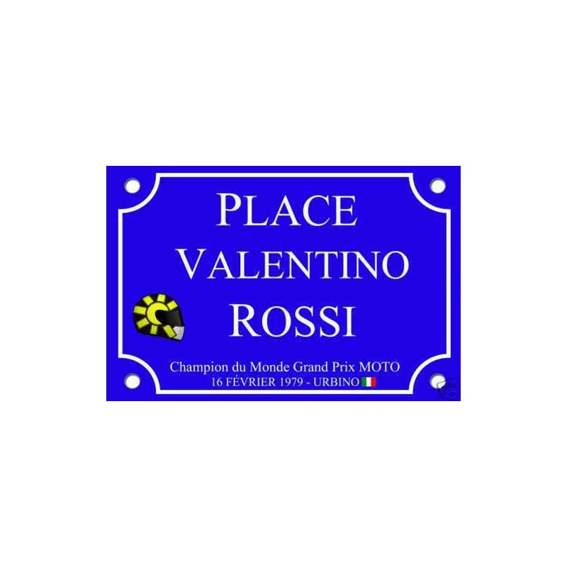 plaque de rue valentino rossi grand prix moto tamalou et bobola. Black Bedroom Furniture Sets. Home Design Ideas
