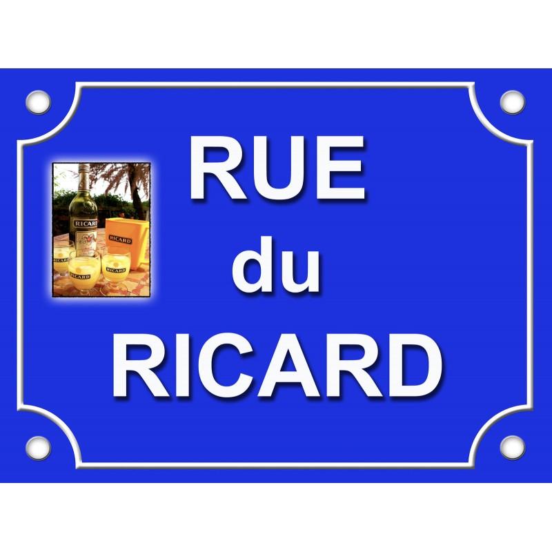 plaque de bar rue du ricard bleu tamalou et bobola. Black Bedroom Furniture Sets. Home Design Ideas