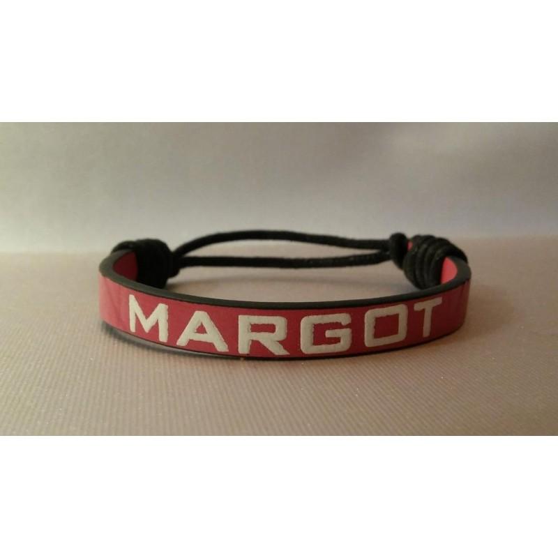 bracelet simili cuir rose fushia personnalisable